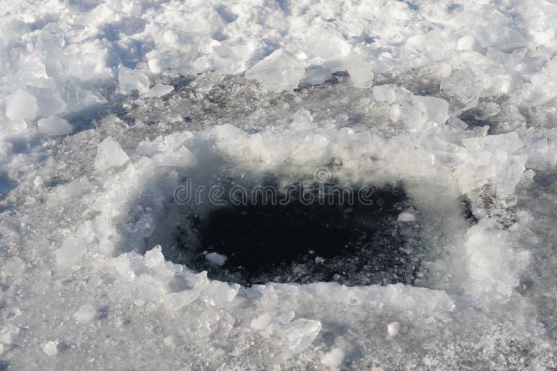 Ice hole. Baikal lake, winter royalty free stock photos