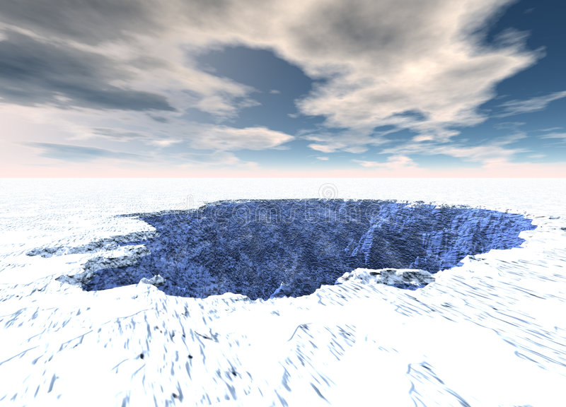 Ice Hole Lake in Cold Arctic. Ice Sheet vector illustration