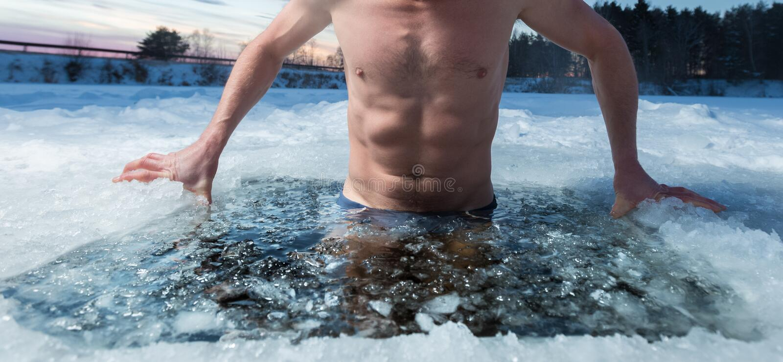 Ice hole swimming stock images