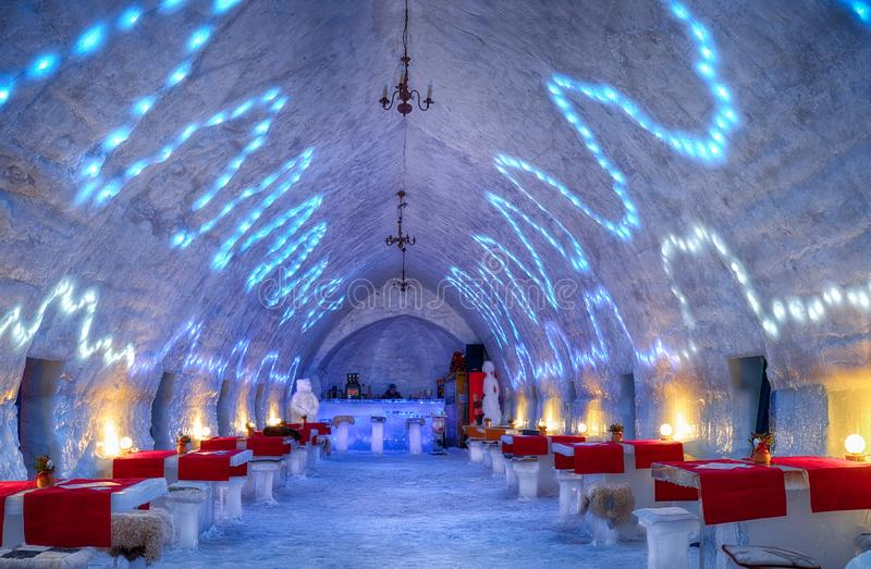 Ice Hotel - Balea Lake Romania. January 24 2019. The famous ice hotel on the frozen glacier Balea lake in Fagaras Mountains, Sibiu county, Transylvania stock images