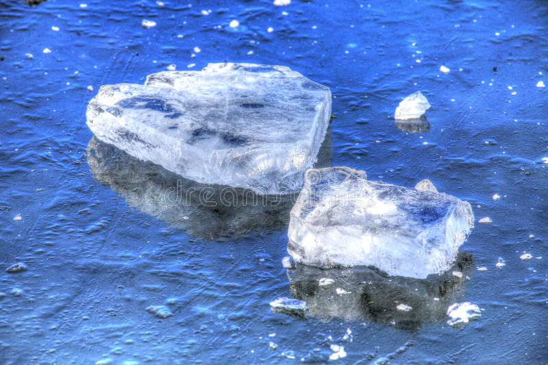Ice on an icebound lake. Ice cover on an icebound lake royalty free stock photo