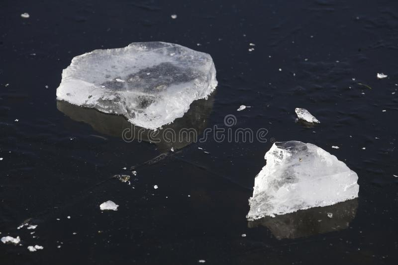 Ice on an icebound lake. Ice cover on an icebound lake stock image