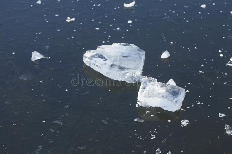 Ice on an icebound lake. Ice cover on an icebound lake royalty free stock photography