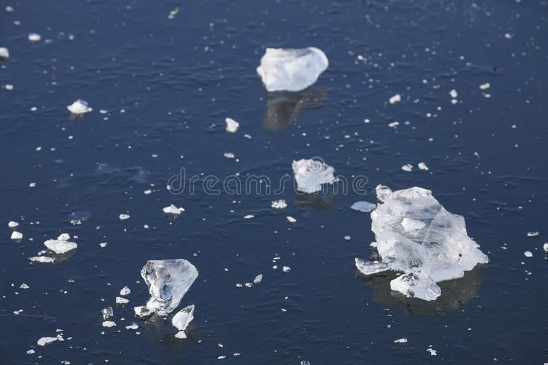 Ice on an icebound lake. Ice cover on an icebound lake stock images