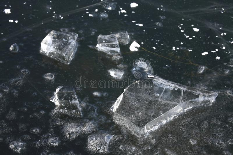 Ice on an icebound lake. Ice cover on an icebound lake stock photos