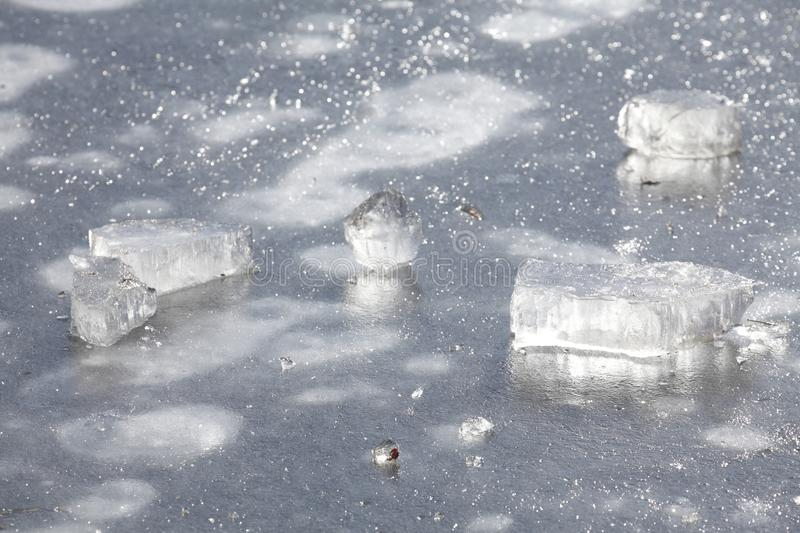 Ice on an icebound lake. Ice cover on an icebound lake stock photography