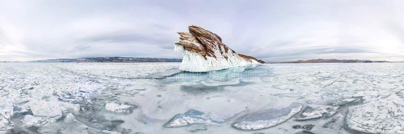 Ice icicles on Ogoy island winter Lake Baikal. Siberia, Russia. cylindrical 360 panorama.  stock image