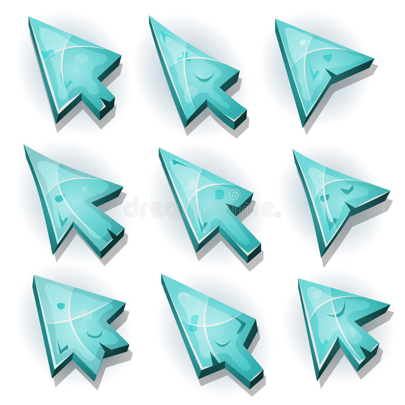 Ice Icons, Cursor And Arrows vector illustration