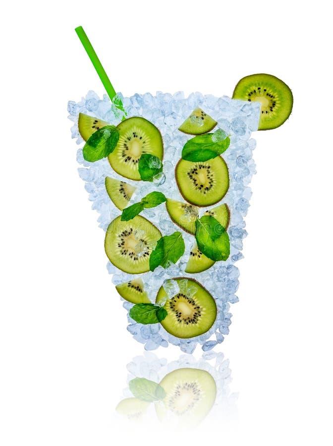 Ice kiwi cocktail with ice cubes on white stock photos
