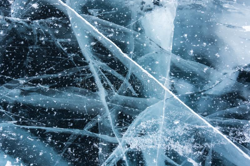 Ice of Lake Baikal. The deepest and largest freshwater lake by volume in the world, located in southern Siberia, Russia royalty free illustration
