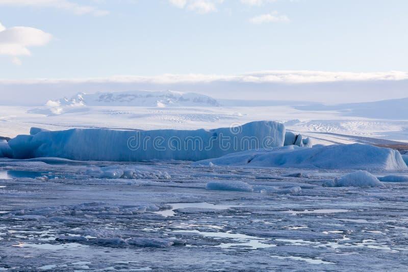 Ice lake winter season landscape background. Natural winter season Iceland landscape background stock image