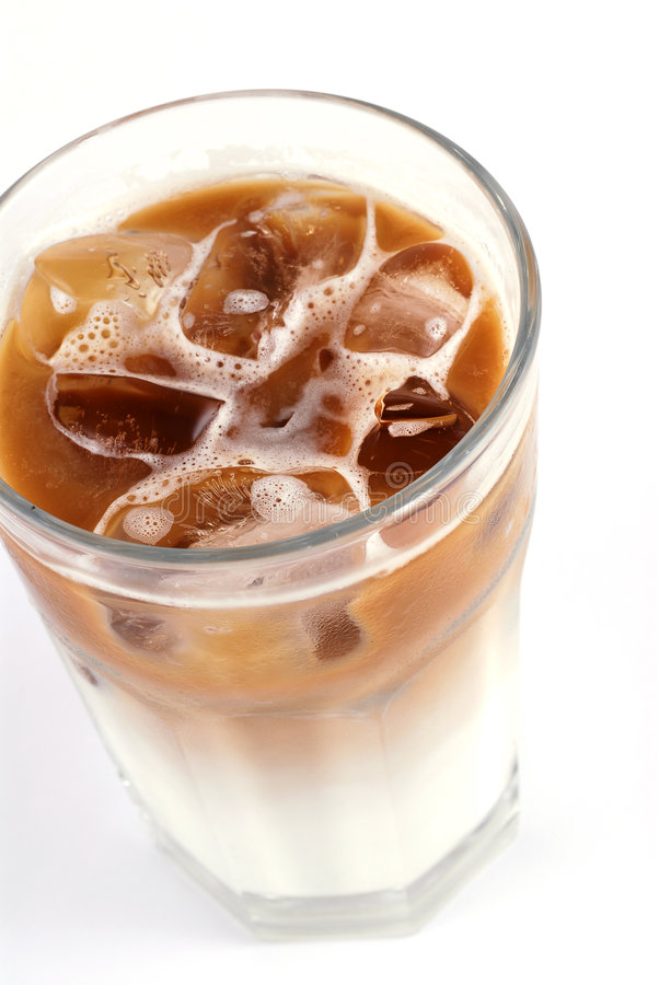 Ice Latte. A glass of cold Ice coffee with milk / Latte stock image