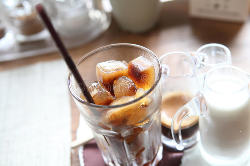 Ice latte coffe. In close up stock photos