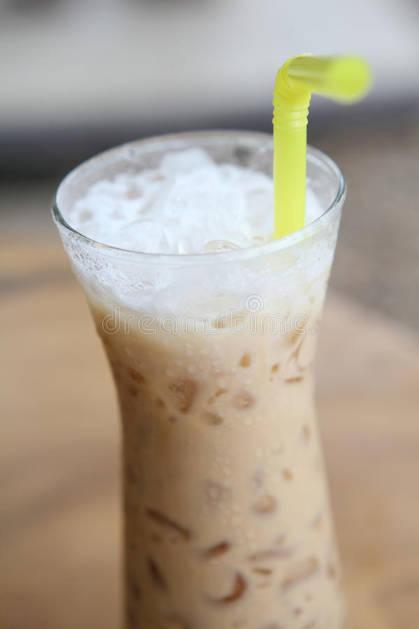 Ice latte coffe. In close up royalty free stock photo