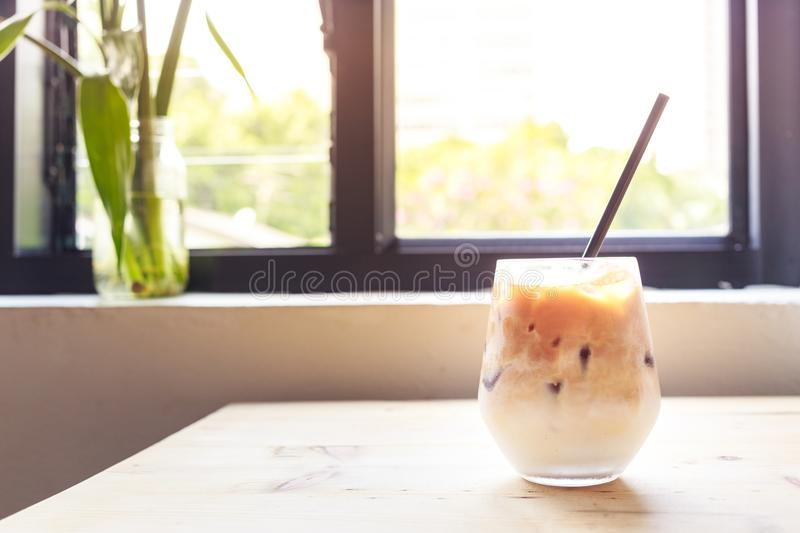 Ice latte coffee. On the table stock images