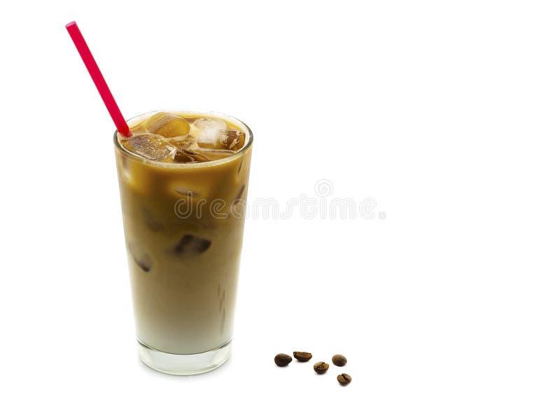 Ice latte on white background.  royalty free stock photos