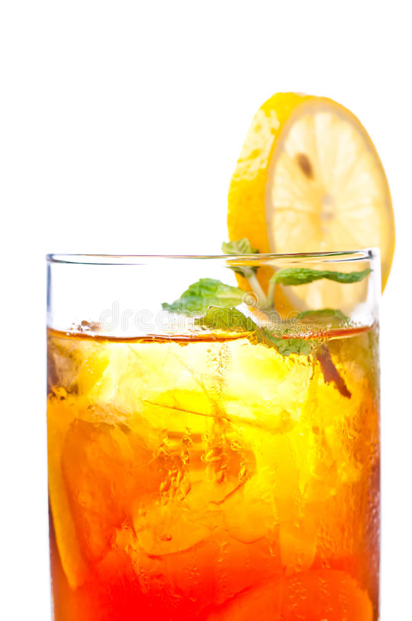 Ice lemon tea close up. A fresh cool ice lemon tea to be enjoyed anytime of the day royalty free stock images
