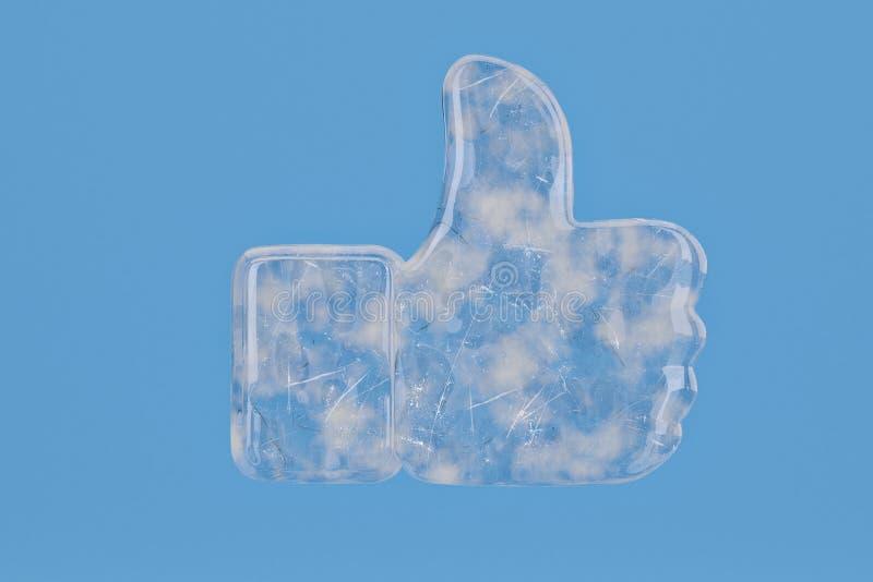 Ice like symbol on blue background include path.3D illustration. royalty free illustration