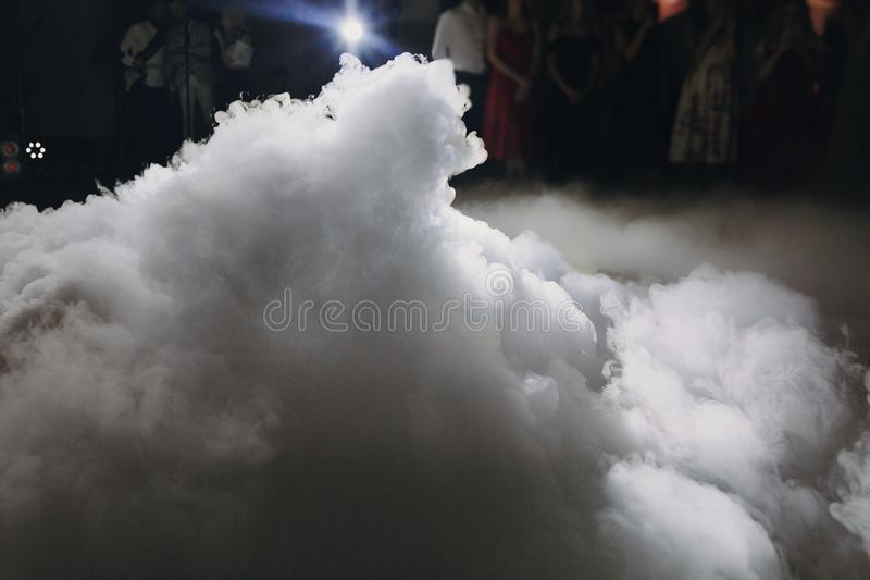 Ice low smoke in light, special effect for wedding first dance at wedding reception in restaurant stock photo