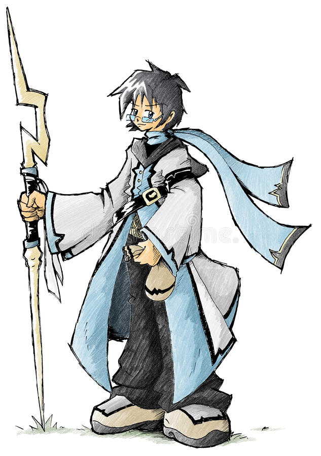 Ice Mage. Cool Wizard posing with wand royalty free illustration
