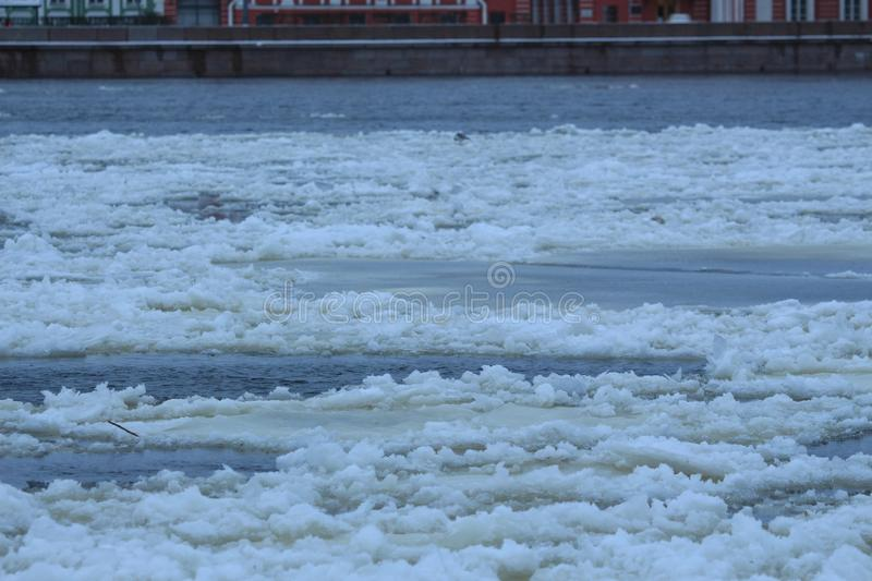 Floating ice along the river stock photos