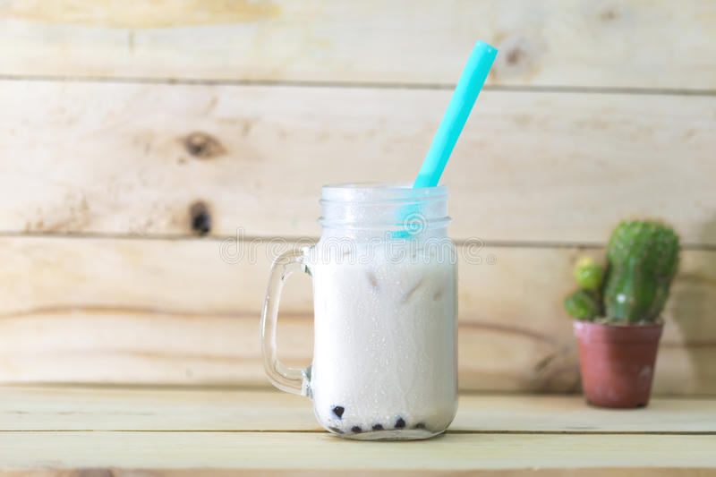 Ice mixed milk and tea with bubble. royalty free stock image