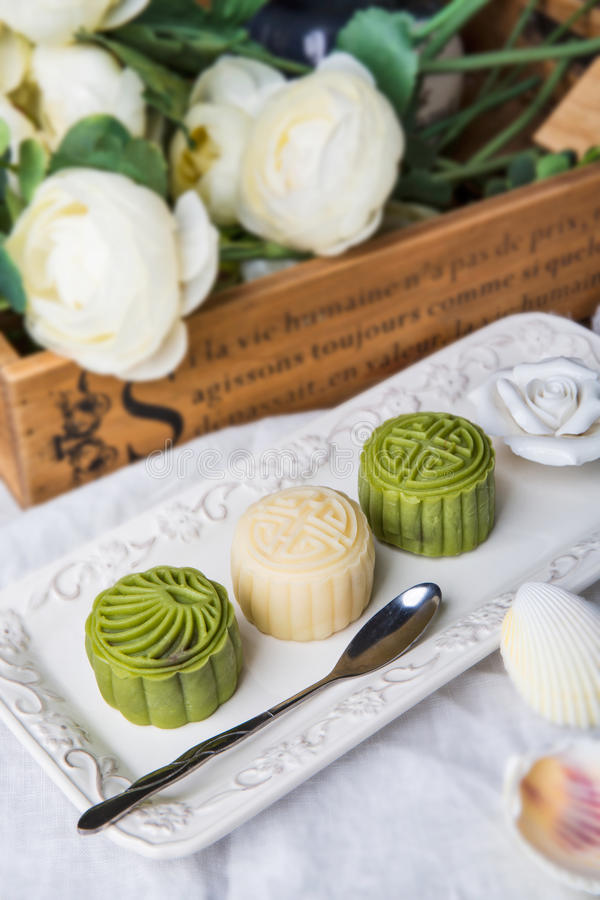 Ice mooncakes stock image