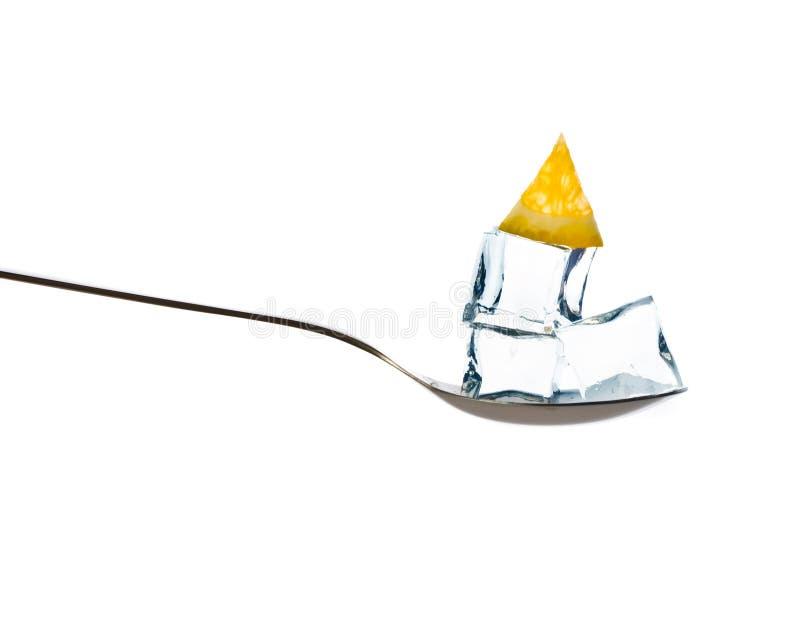 Ice and orange slice in spoon. stock photo