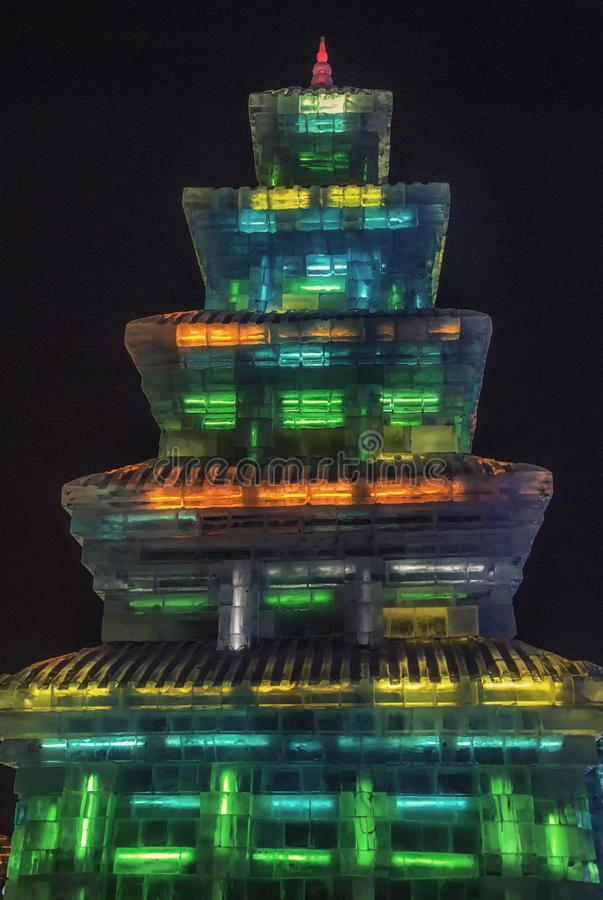 Ice pagoda with lights, International Ice Festival, Harbin, China royalty free stock images