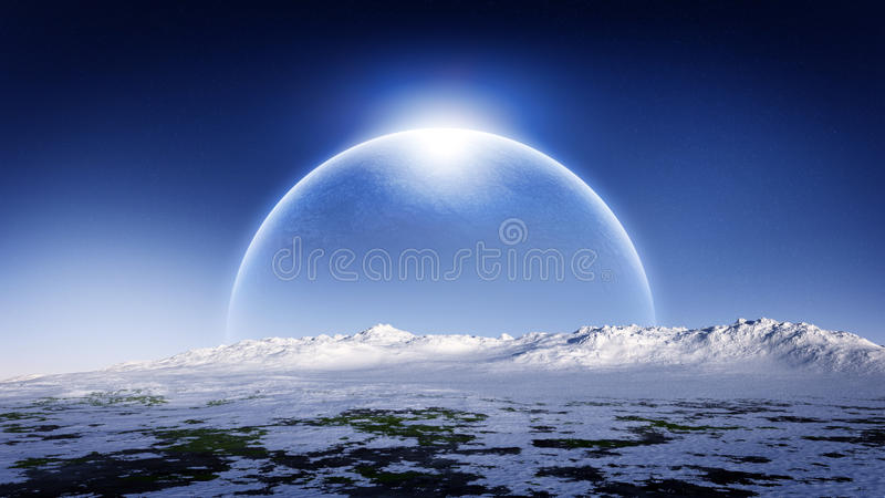 Ice Planet Rising On Ice Landscape Horizon. Cold and unknown alien planet with rings rising on the horizon of a cold distant planet with hazy atmosphere and stock illustration