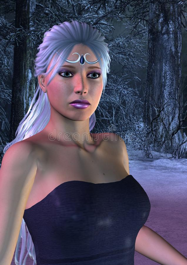 Ice Princess in frosty Forest royalty free illustration
