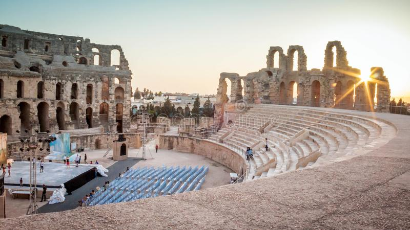The ice rink in El Jem Amphitheatre. stock images