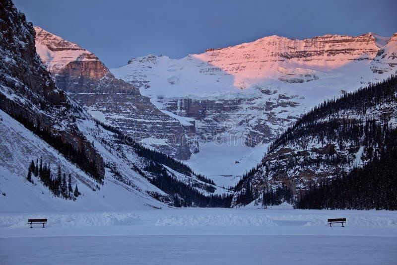 Ice Rink Lake Louise. Chateau winter Alberta Canada royalty free stock photo