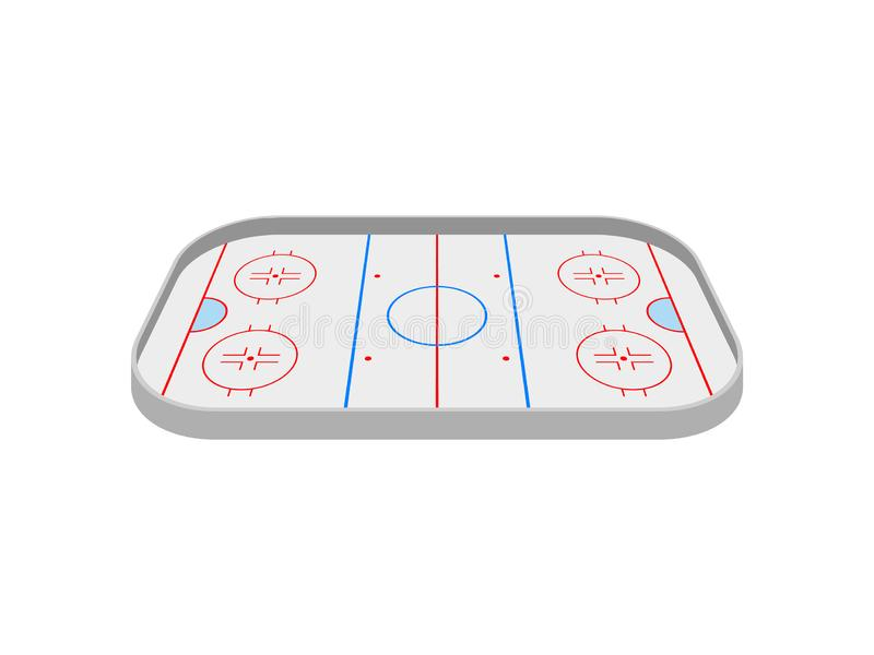 Ice rink for playing hockey. View from above. Vector illustration on white background. stock illustration
