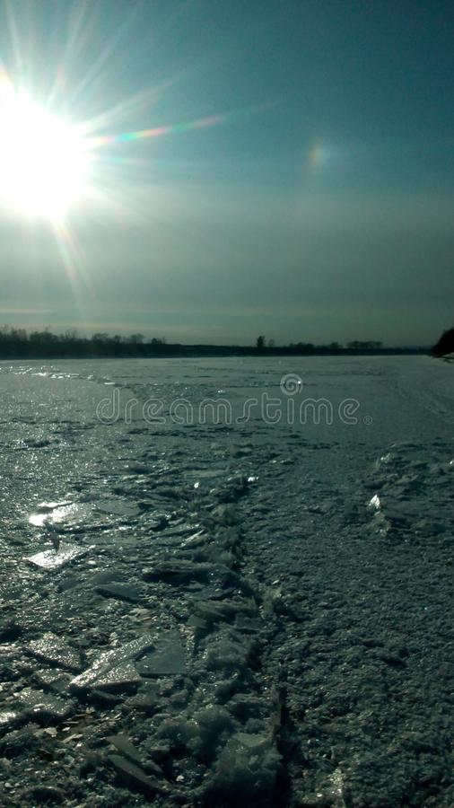Ice on the river stock image