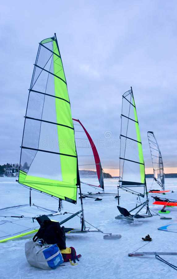 Download Ice sailing boats stock photo. Image of cold, boat, twilight - 29019152