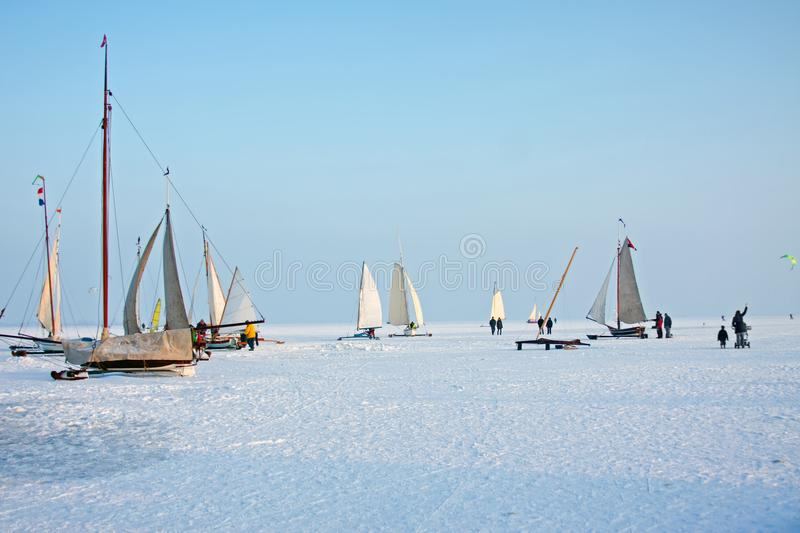 Ice sailing on a cold winter day on the Gouwzee in the Netherlands stock photo