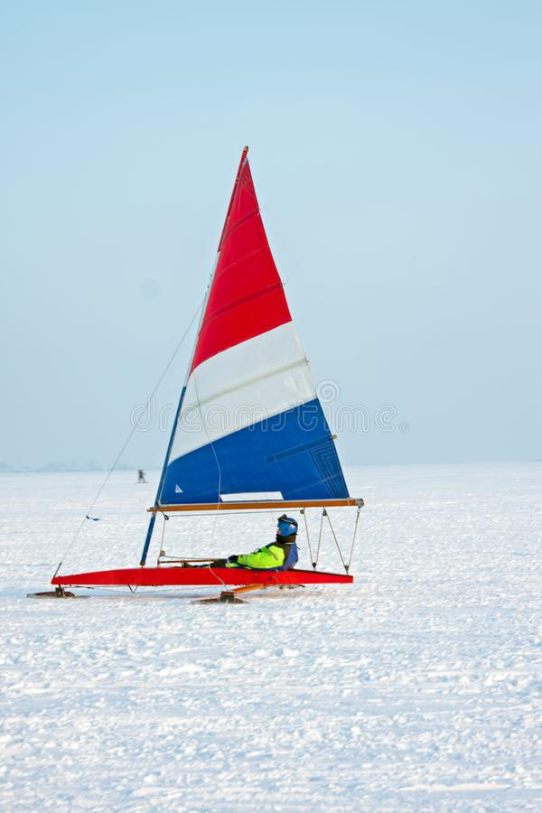 Ice sailing on a cold winter day on the Gouwzee in the Netherlands royalty free stock photo