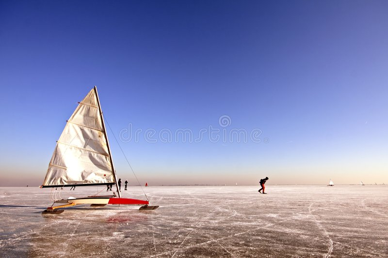 Download Ice Sailing And Skating On A Cold Winterday Stock Image - Image: 7767695