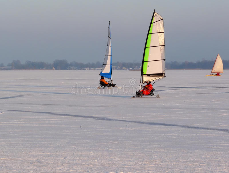 Download Ice sailing in winter stock photo. Image of active, sailing - 12557688