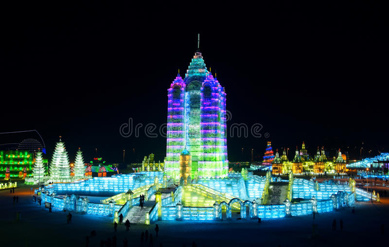 Ice sculpture,Ice lantern. One of the magnificent ice sculptures at the Harbin Ice Festival in Harbin, China stock image