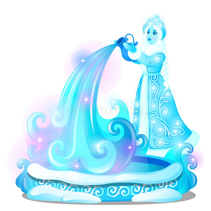 Ice sculpture in the form of a maiden poured the water into the well isolated on white background. Sketch of Christmas royalty free illustration
