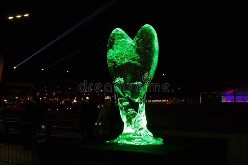 Ice Sculpture of Heart Festival in Jelgava, Latvia in February 9, 2019. Ice Sculpture And Light Festival in Jelgava, Latvia in February 9, 2019, Heart royalty free stock images
