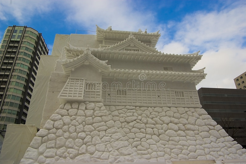 Ice sculptures of japanese castle. royalty free stock images