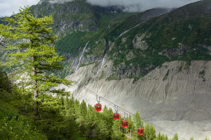 Ice Sea Mer de glaces cable car taking to the ice cavern in Chamonix - France royalty free stock photo
