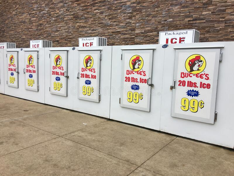 Self-Serve Ice Coolers at Buc-ee`s Convenience Store royalty free stock image