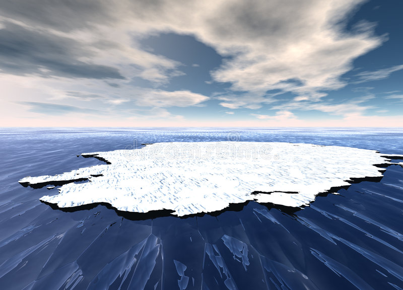 Ice Sheet Floating in Ocean. Waters royalty free illustration