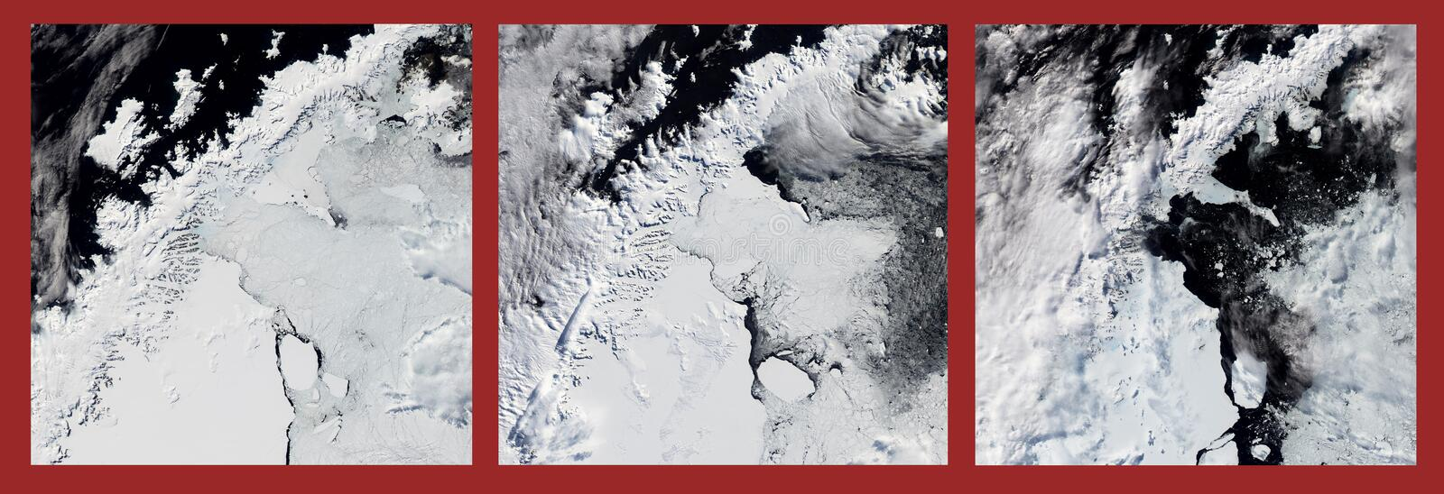 Ice shelf melting. Climate change danger .Some graphics are provided by NASA. Ice shelf melting though the years. Climate change danger .Some graphics are stock photos