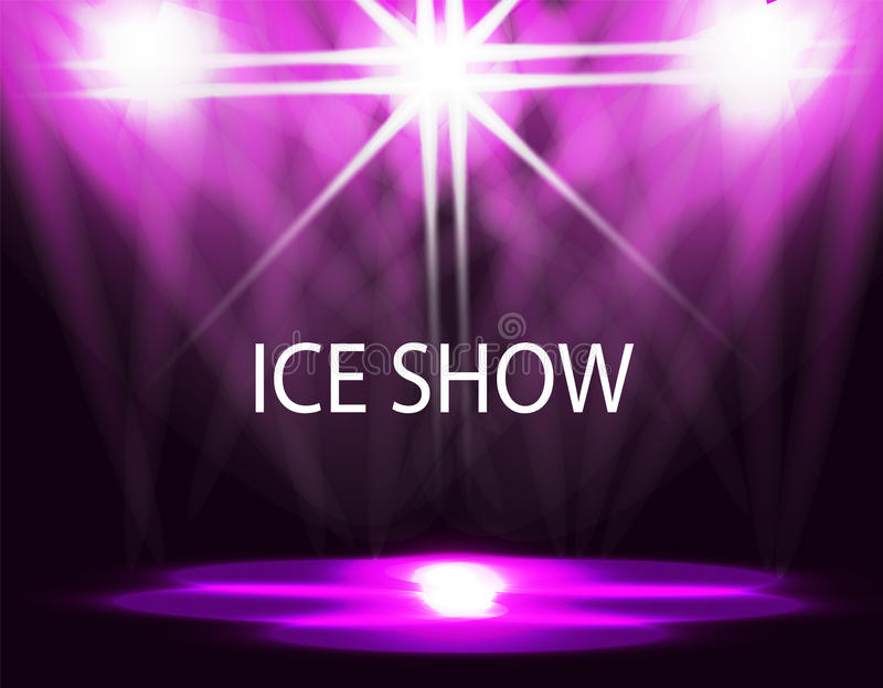 Ice show inscription. Lighting of the rink, catwalk, floodlights. Abstract. Purple background. illustration royalty free illustration