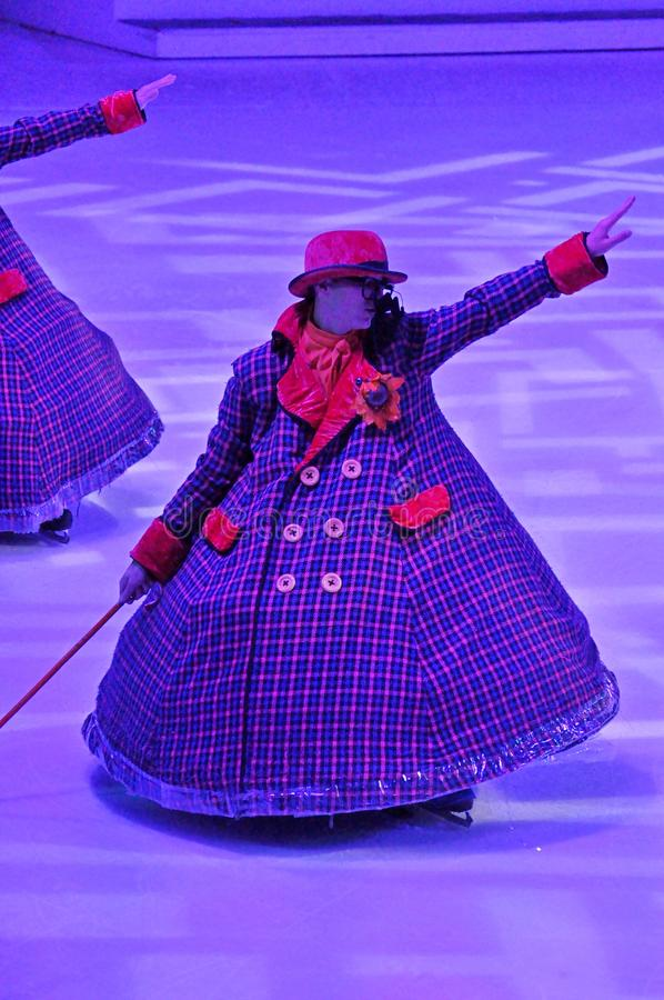 Ice show. Professional sportsmans ice skaters performing in an ice show production onboard cruise ship Adventure of the Seas stock photography